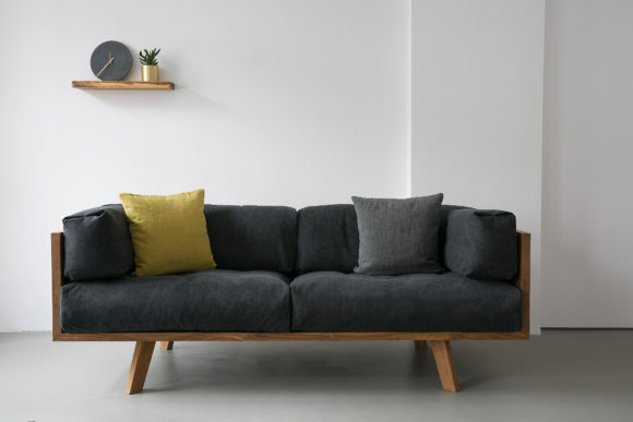 Nuts And Woods Oak Linen Sofa